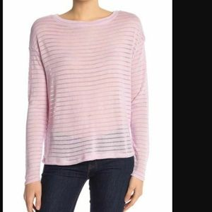 14th & Union Top Sz S Pink Shadow Stripe Boat Neck